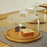 Eco-friendly Wood Cake Stand with Glass Dome