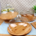 Elegant Wood Cake Dessert Stand with Glass Dome